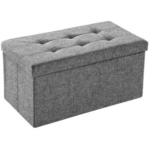 Tectake 402238 foldable storage bench made of polyester - light grey