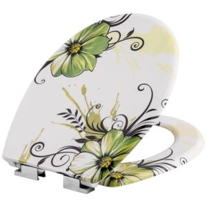 Tectake 402259 toilet seat with design - flowers