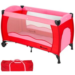 Tectake 402415 travel cot for children - pink