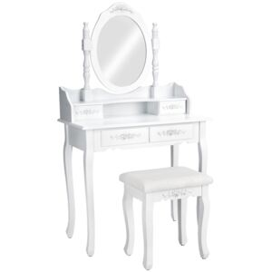 Tectake 402072 dressing table with mirror and stool in an antique look - white