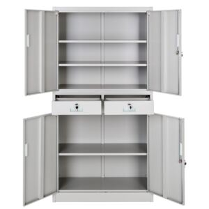 Tectake 402484 filing cabinet with 2 drawers - grey