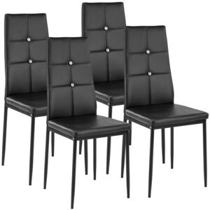 Tectake 402545 4 dining chairs with rhinestones - black