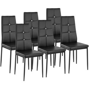 Tectake 402541 6 dining chairs with rhinestones - black