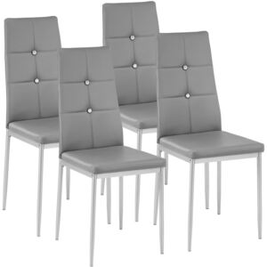 Tectake 402546 4 dining chairs with rhinestones - grey