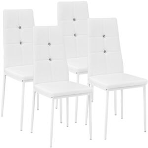 Tectake 402547 4 dining chairs with rhinestones - white