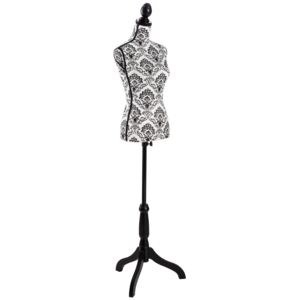 Tectake 402565 female tailor's dummy - black/white floral pattern