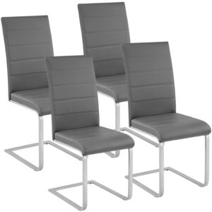 Tectake 402555 4 dining chairs rocking chairs - grey