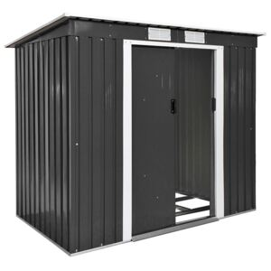 Tectake 402569 shed with slanted roof - grey