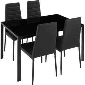 Tectake 402837 dining table and chair set berlin 4+1 - black