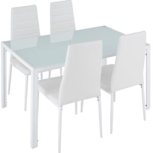 Tectake 402838 dining table and chair set berlin 4+1 - white