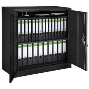 Tectake 402941 filing cabinet with 3 compartments - black