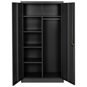 Tectake 402940 filing cabinet with 6 drawers and rail - black