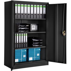 Tectake 402937 filing cabinet with 4 shelves - black