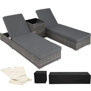 Tectake 403088 2 sunloungers + table with protective cover rattan aluminium - grey