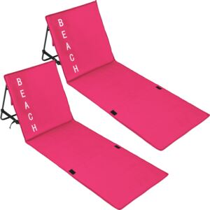 Tectake 402989 2 beach mats with backrest - pink