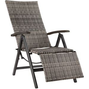Tectake 403217 reclining garden chair with footrest - grey