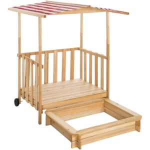 Tectake 403239 sandpit with play deck and canopy gretchen - red