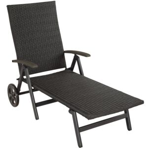 Tectake 403250 sun lounger with armrests auckland - black
