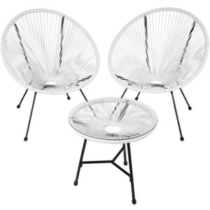 Tectake 403308 set of 2 gabriella chairs with table - white