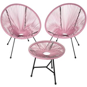 Tectake 403309 set of 2 gabriella chairs with table - pink