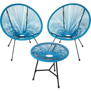 Tectake 403311 set of 2 gabriella chairs with table - blue