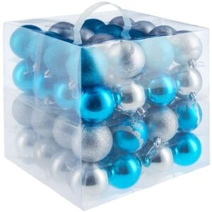 Tectake 403322 christmas baubles set of 64 in silver/blue - silver/blue