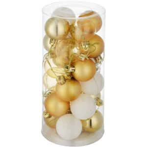 Tectake 403321 christmas baubles set of 24 in white/gold - white/gold