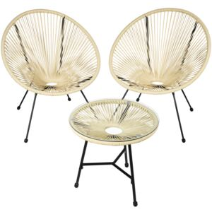 Tectake 403310 set of 2 gabriella chairs with table - beige