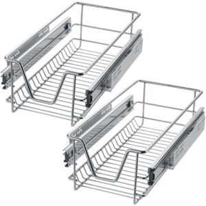 Tectake 403436 2 sliding wire baskets with drawer slides - 27 cm