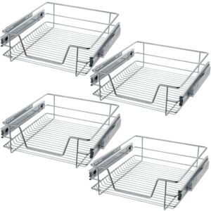 Tectake 403441 4 sliding wire baskets with drawer slides - 47 cm