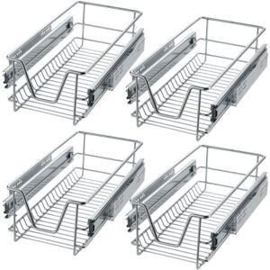 Tectake 403437 4 sliding wire baskets with drawer slides - 27 cm