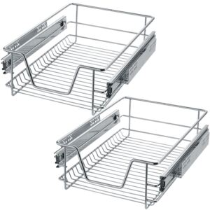 Tectake 403438 2 sliding wire baskets with drawer slides - 37 cm