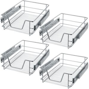 Tectake 403439 4 sliding wire baskets with drawer slides - 37 cm