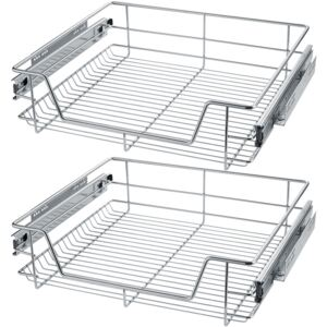 Tectake 403442 2 sliding wire baskets with drawer slides - 57 cm