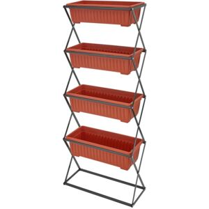 Tectake 403445 plant stand with 4 plant pots - brown
