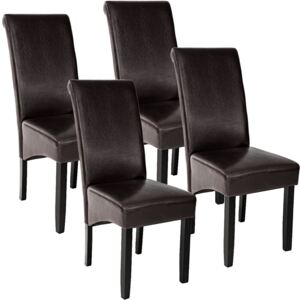 Tectake 403496 4 dining chairs with ergonomic seat shape - brown