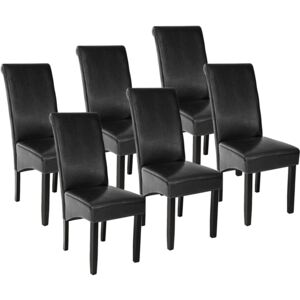 Tectake 403495 6 dining chairs with ergonomic seat shape - black