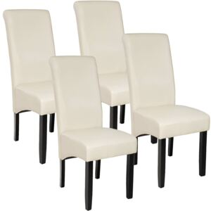 Tectake 403498 4 dining chairs with ergonomic seat shape - cream