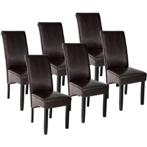 Tectake 403497 6 dining chairs with ergonomic seat shape - brown