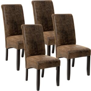 Tectake 403500 4 dining chairs with ergonomic seat shape - antique brown