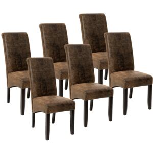 Tectake 403501 6 dining chairs with ergonomic seat shape - antique brown