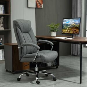 Vinsetto Swivel Task Office Chair for Home Ergonomic Linen Fabric Computer Chair, with Arm, Adjustable Height, Grey