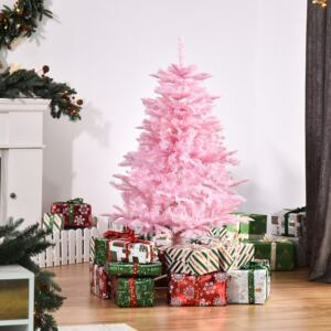 HOMCOM 4FT Pop-up Artificial Christmas Tree Holiday Xmas Holiday Tree Decoration with Automatic Open for Home Party, Pink