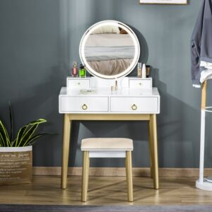 HOMCOM Makeup Vanity Table Set with Round Mirror, Built-in 3 Color LED Light, Dressing Desk with 4 Drawers and Cushioned Stool for Bedroom, White