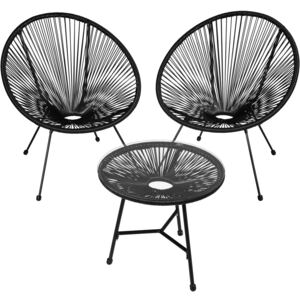 Tectake 403307 set of 2 gabriella chairs with table - black