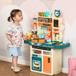 HOMCOM Kids Kitchen Play Cooking Toy Set, Educational Pretend Role Playset Game with Water Circulation Spray Music Light Function, for 3-6 Years Old