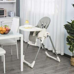 HOMCOM Foldable Baby High Chair Convertible to Toddler Chair Height Adjustable with Removable Tray 5-Point Harness Mobile with Wheels Grey