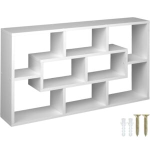 Tectake 403609 floating shelf room divider for books and ornaments - white