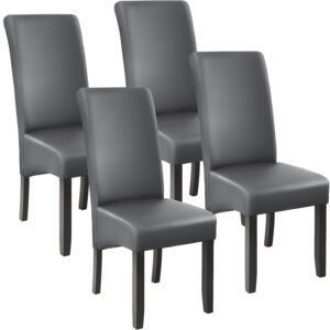 Tectake 403591 4 dining chairs with ergonomic seat shape - grey