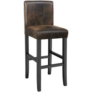 Tectake 403583 breakfast bar stool made of artificial leather - antique brown